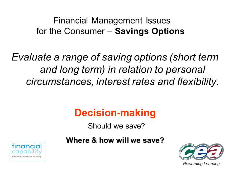 Savings Options.