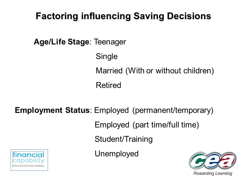 Factoring influencing Saving Decisions Age/Life Stage: Teenager Single Married (With or without children) Retired Employment Status: Employed (permanent/temporary) Employed (part time/full time) Student/Training Unemployed
