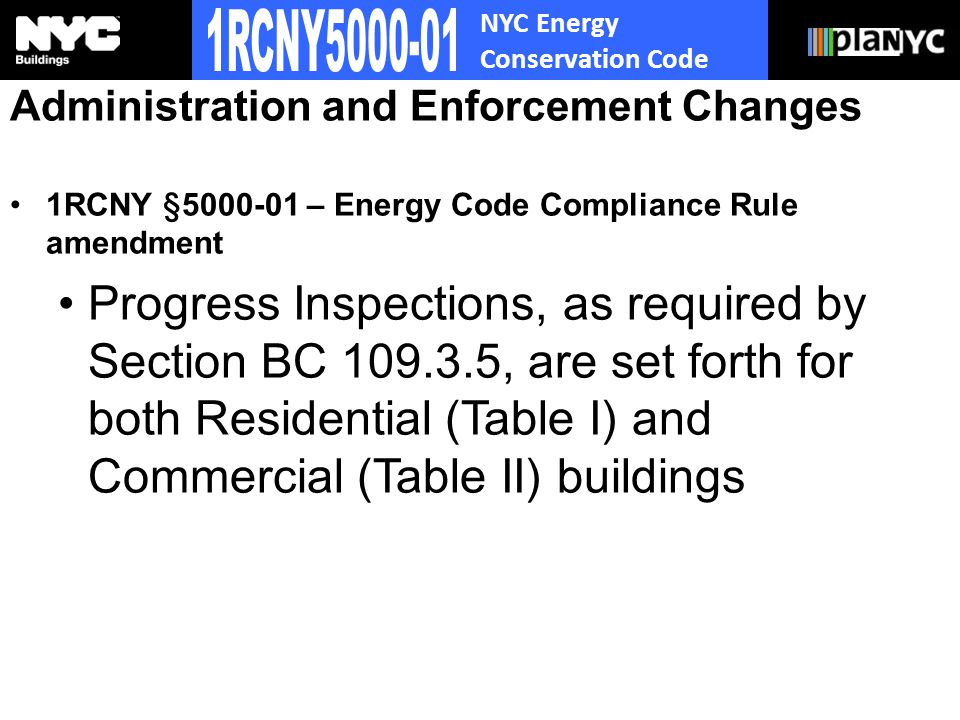 NYC Energy Conservation Code Administration and Enforcement Changes 1RCNY § – Energy Code Compliance Rule amendment Progress Inspections, as required by Section BC , are set forth for both Residential (Table I) and Commercial (Table II) buildings