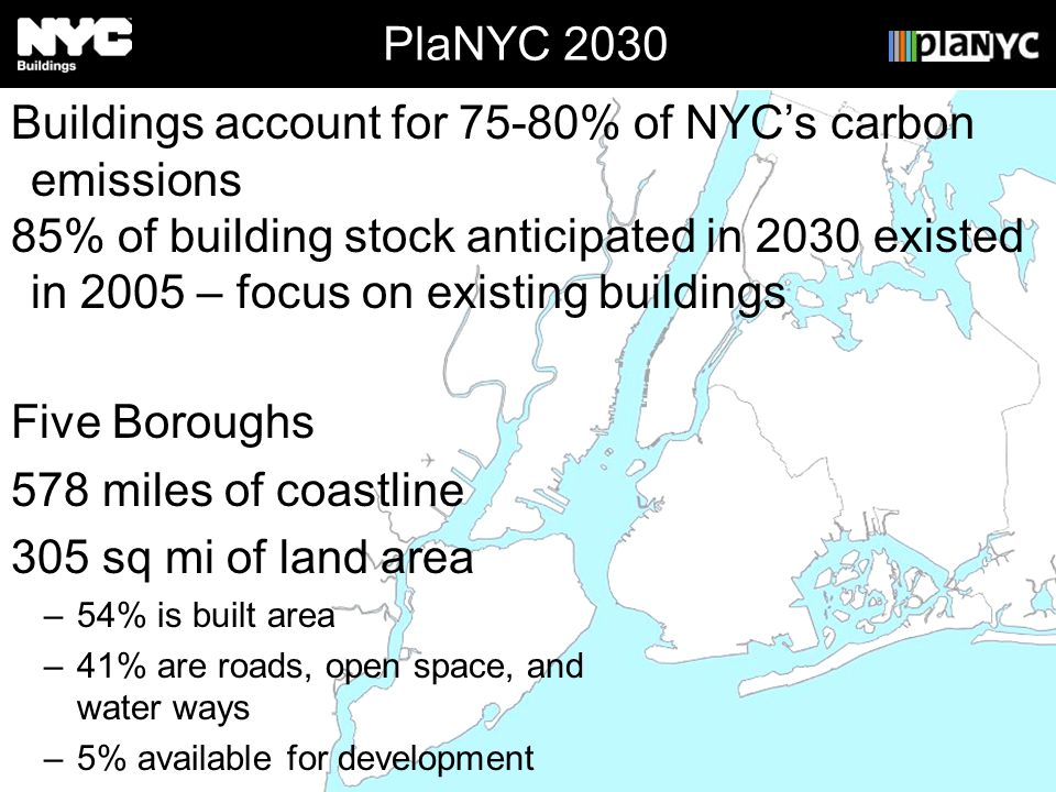 PlaNYC 2030 Five Boroughs 578 miles of coastline 305 sq mi of land area –54% is built area –41% are roads, open space, and water ways –5% available fo