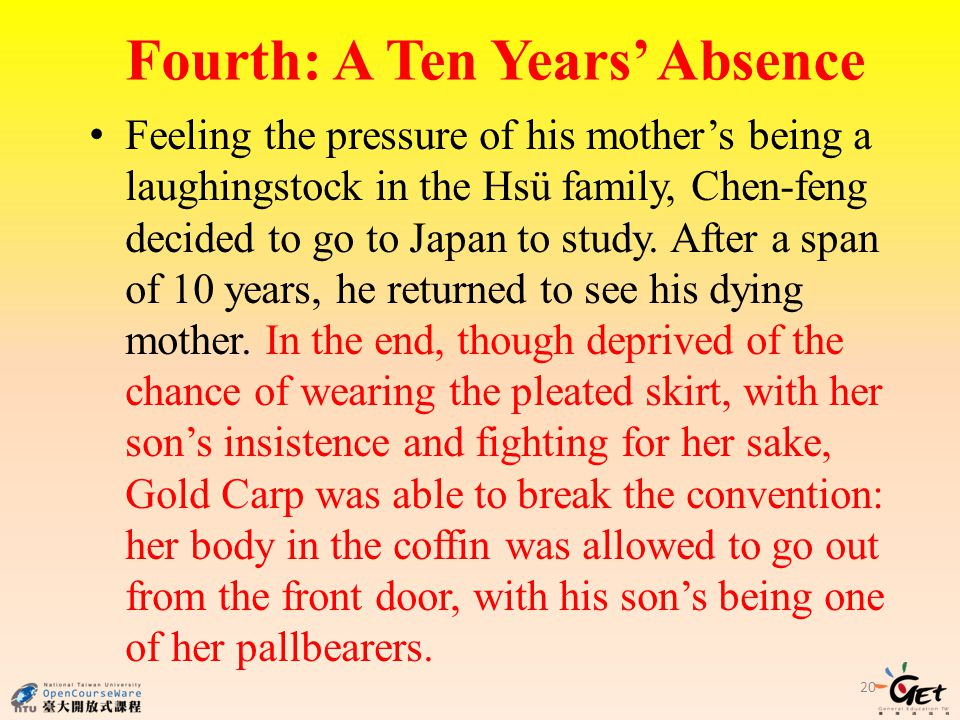 Fourth: A Ten Years Absence Feeling the pressure of his mothers being a laughingstock in the Hsü family, Chen-feng decided to go to Japan to study.