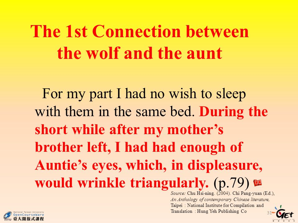 The 1st Connection between the wolf and the aunt 31 For my part I had no wish to sleep with them in the same bed.