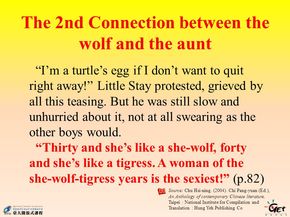 The 2nd Connection between the wolf and the aunt 33 Im a turtles egg if I dont want to quit right away.