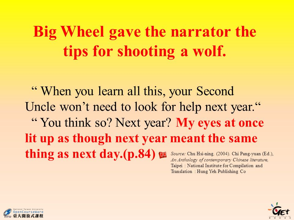 37 Big Wheel gave the narrator the tips for shooting a wolf.