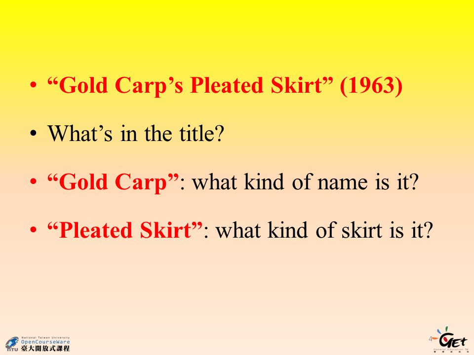4 Gold Carps Pleated Skirt (1963) Whats in the title.