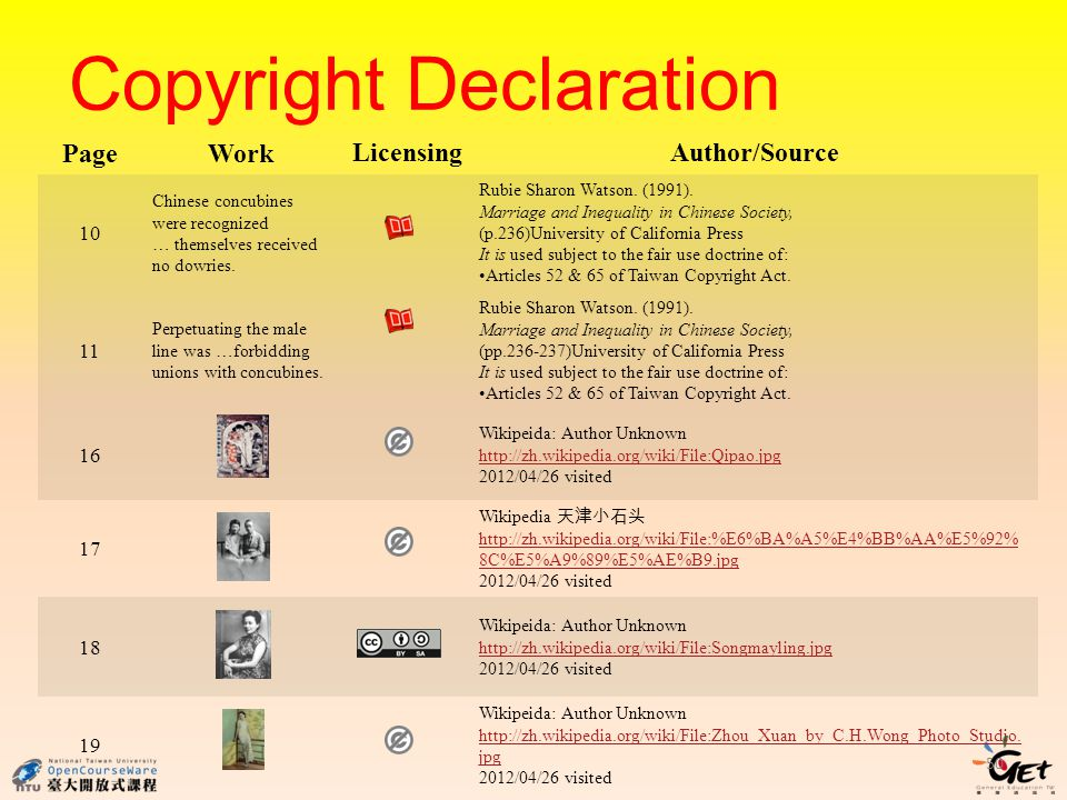 Copyright Declaration PageWork LicensingAuthor/Source 10 Chinese concubines were recognized … themselves received no dowries.
