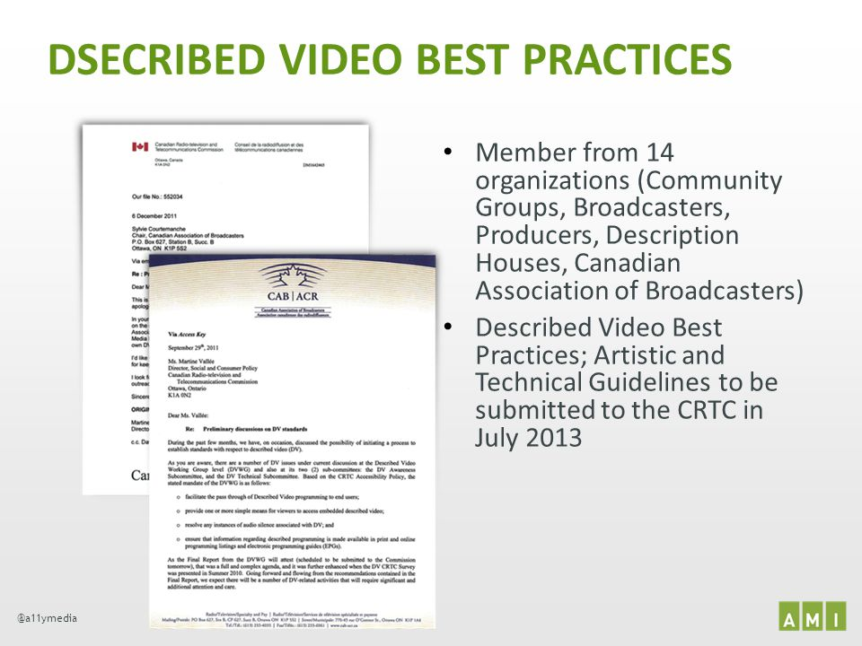 @a11ymedia DSECRIBED VIDEO BEST PRACTICES Member from 14 organizations (Community Groups, Broadcasters, Producers, Description Houses, Canadian Associ