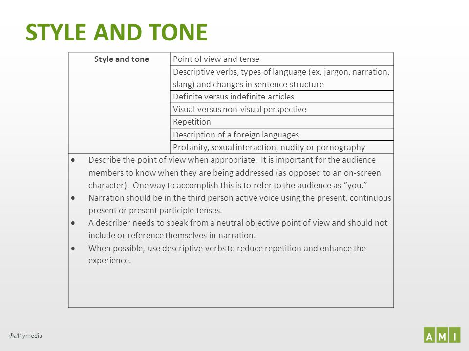 @a11ymedia STYLE AND TONE Style and tonePoint of view and tense Descriptive verbs, types of language (ex. jargon, narration, slang) and changes in sen