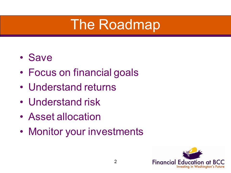 2 The Roadmap Save Focus on financial goals Understand returns Understand risk Asset allocation Monitor your investments