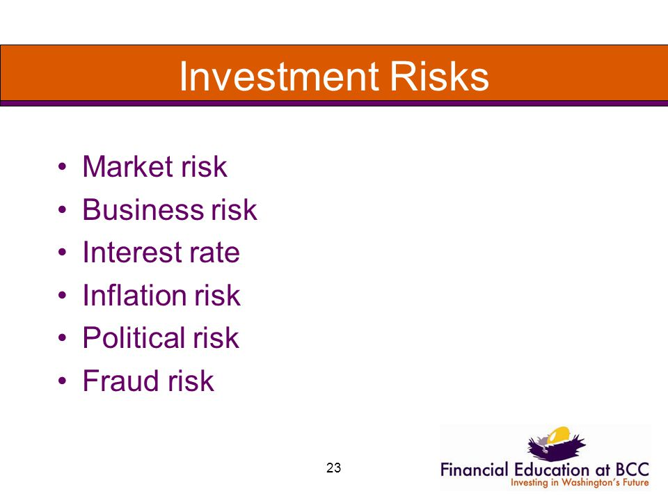 23 Investment Risks Market risk Business risk Interest rate Inflation risk Political risk Fraud risk