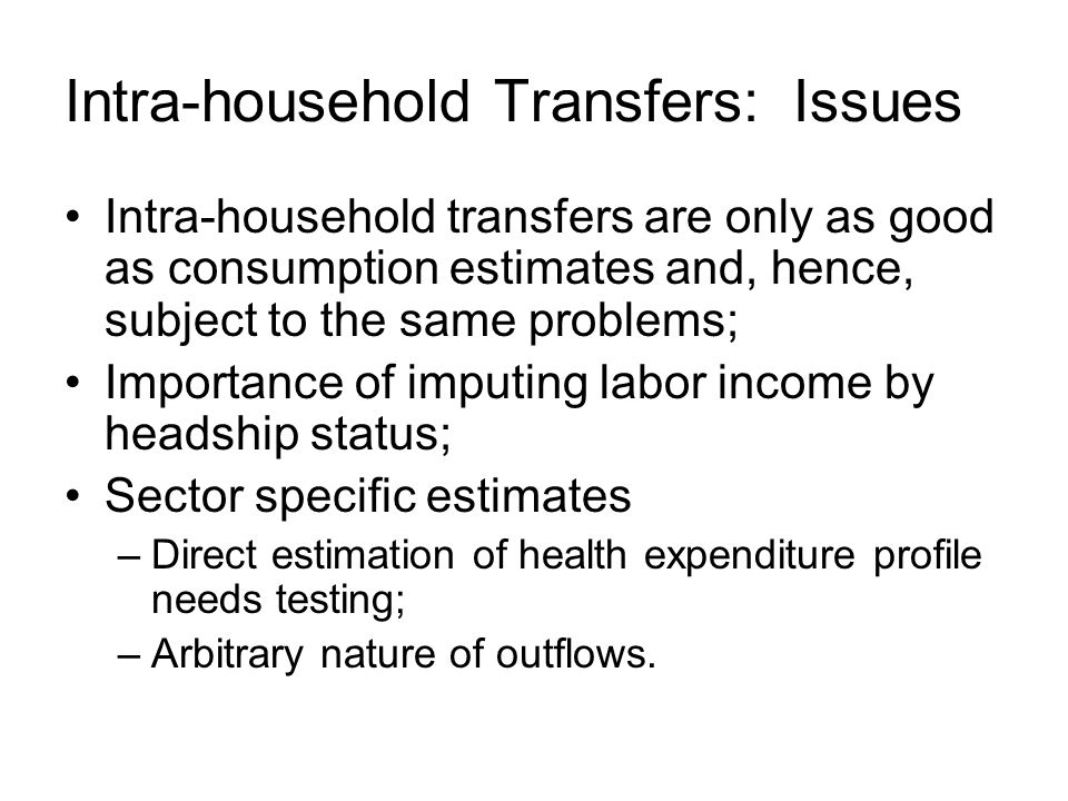 Intra-household Transfers: Issues Intra-household transfers are only as good as consumption estimates and, hence, subject to the same problems; Importance of imputing labor income by headship status; Sector specific estimates –Direct estimation of health expenditure profile needs testing; –Arbitrary nature of outflows.