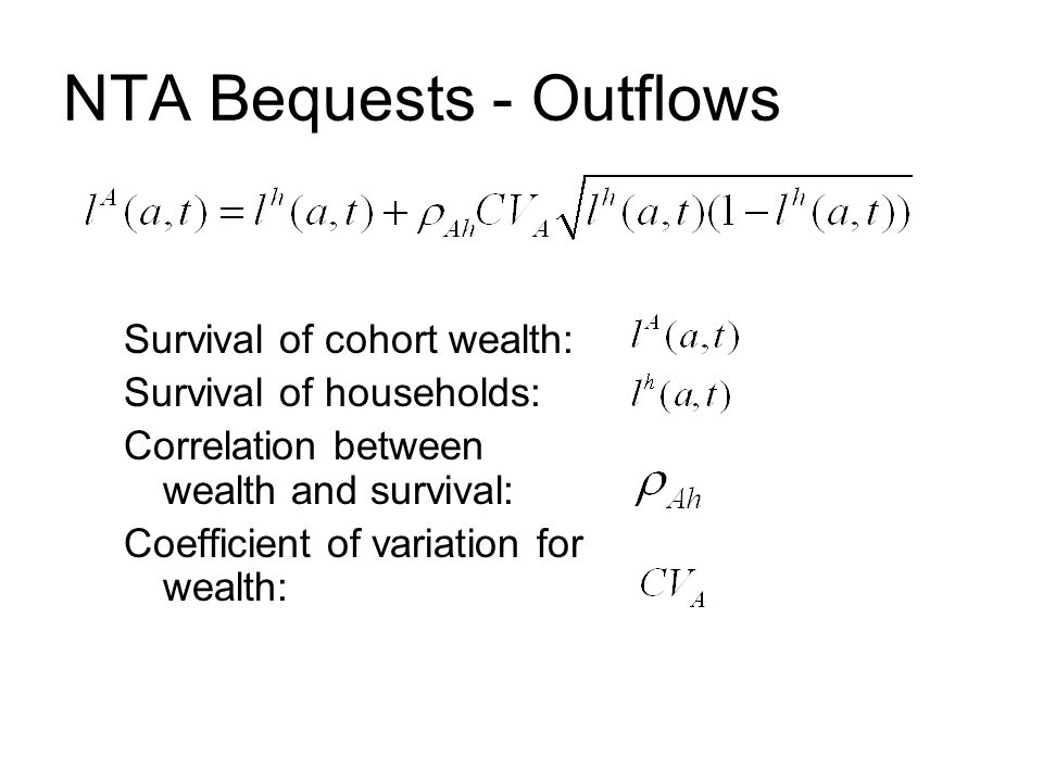 NTA Bequests - Outflows Survival of cohort wealth: Survival of households: Correlation between wealth and survival: Coefficient of variation for wealth: