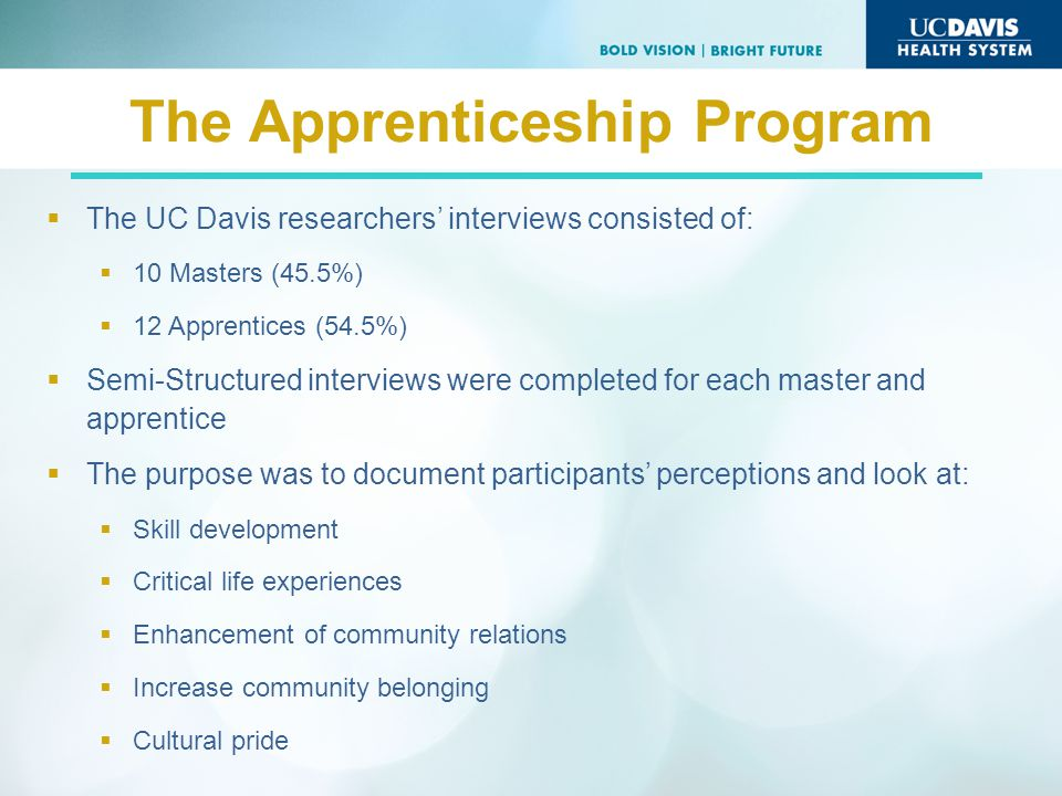 The Apprenticeship Program The UC Davis researchers interviews consisted of: 10 Masters (45.5%) 12 Apprentices (54.5%) Semi-Structured interviews were completed for each master and apprentice The purpose was to document participants perceptions and look at: Skill development Critical life experiences Enhancement of community relations Increase community belonging Cultural pride