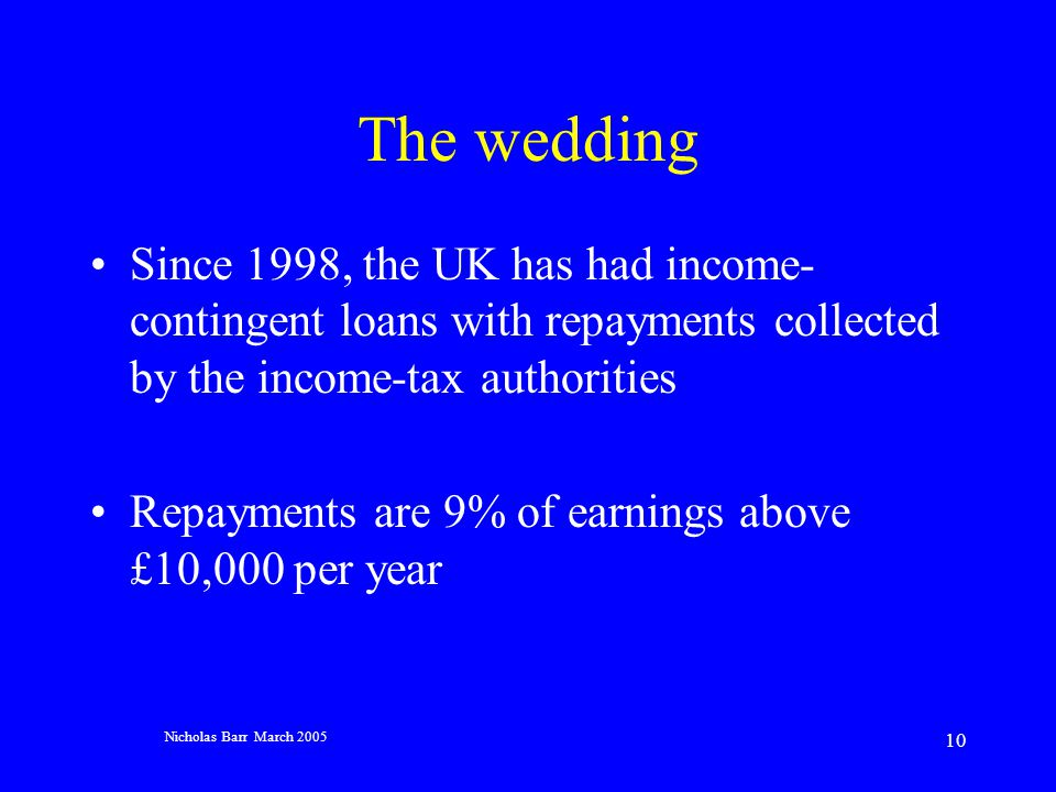 Nicholas Barr March 2005 10 The wedding Since 1998, the UK has had income- contingent loans with repayments collected by the income-tax authorities Repayments are 9% of earnings above £10,000 per year