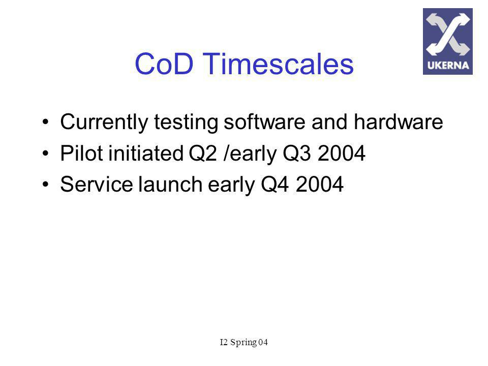 I2 Spring 04 CoD Timescales Currently testing software and hardware Pilot initiated Q2 /early Q Service launch early Q4 2004
