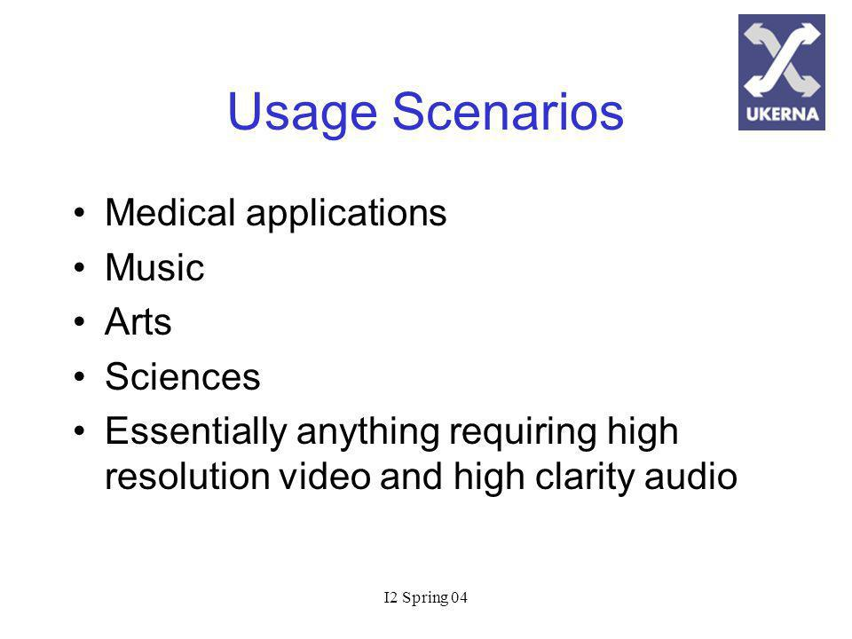 I2 Spring 04 Usage Scenarios Medical applications Music Arts Sciences Essentially anything requiring high resolution video and high clarity audio