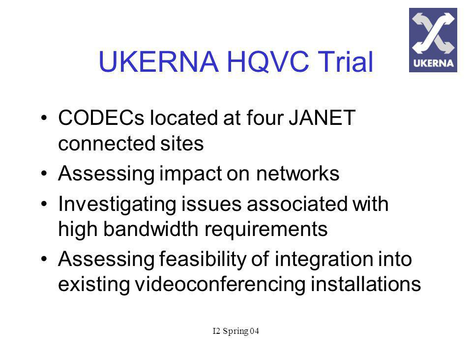 I2 Spring 04 UKERNA HQVC Trial CODECs located at four JANET connected sites Assessing impact on networks Investigating issues associated with high bandwidth requirements Assessing feasibility of integration into existing videoconferencing installations