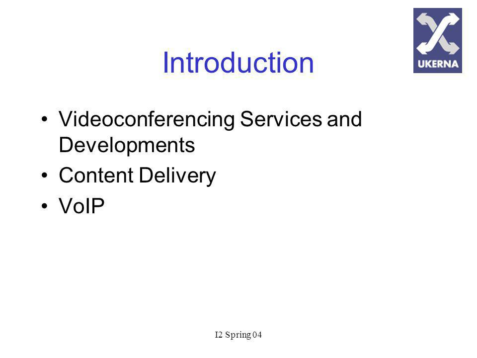 I2 Spring 04 Current VC Services JANET Videoconferencing Services (JVCS) around for 6+ years 2 Mbit/s videoconferencing for upto 76 sites, ISDN 6 for 96 sites 400+ registered CODECs - 2500+ videoconferencing hours per month H.323 IP dial out and H.320 ISDN dial in MCUs and GDS gatekeepers located in the core of JANET – 10 Gbit