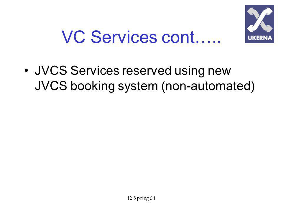 I2 Spring 04 VC Services cont…..