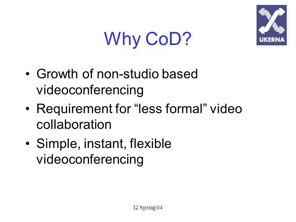 I2 Spring 04 CoD Service Overview Support for 48 fully transcoded IP videoconferences (768kbit/s max) Scheduling instantly or up to 48 hours in advance MCU initiates conference (dial out) First come first served basis Support for all H.323 CODECs