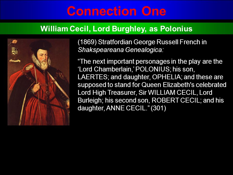 Connection One William Cecil, Lord Burghley, as Polonius (1869) Stratfordian George Russell French in Shakspeareana Genealogica: The next important pe