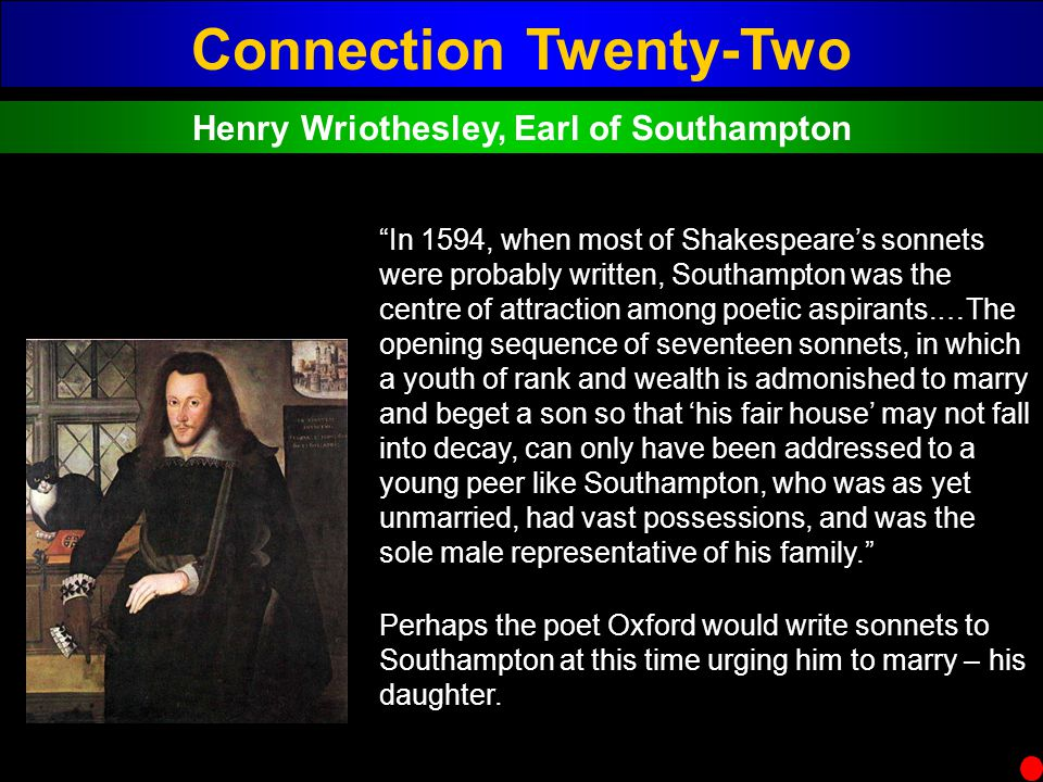 Connection Twenty-Two Henry Wriothesley, Earl of Southampton In 1594, when most of Shakespeares sonnets were probably written, Southampton was the cen