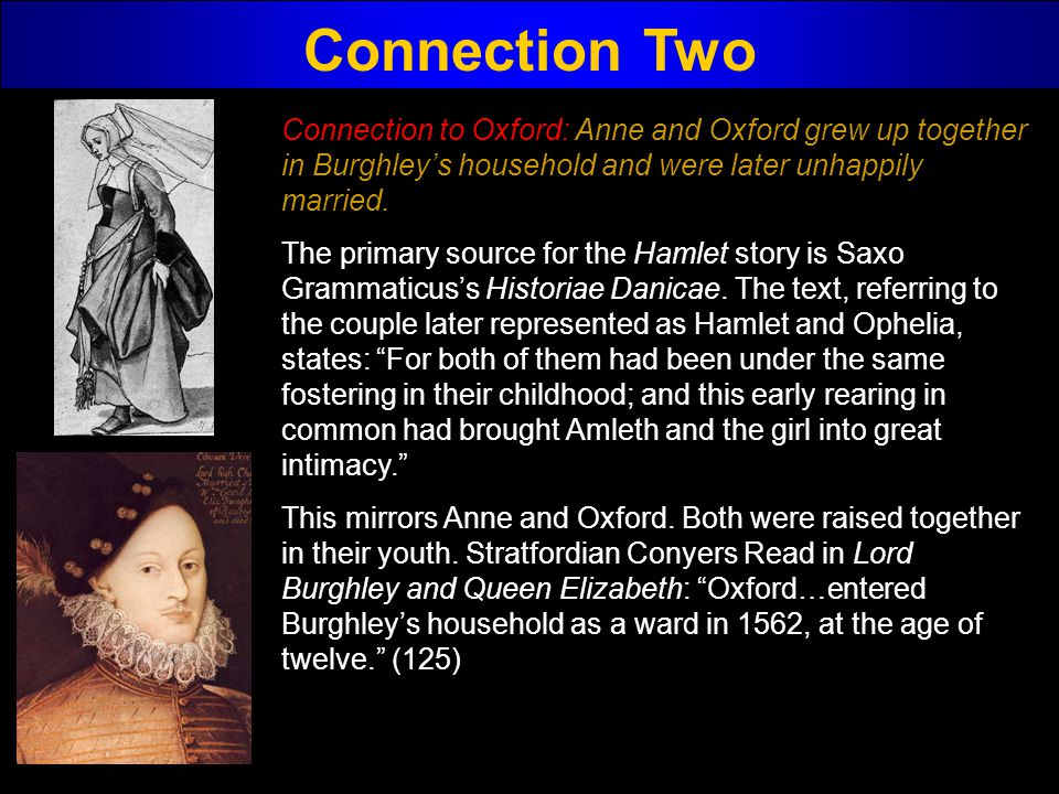 Connection Two Connection to Oxford: Anne and Oxford grew up together in Burghleys household and were later unhappily married. The primary source for