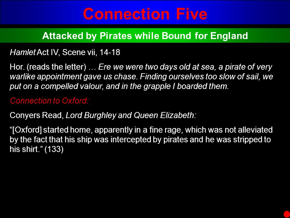 Connection Five Attacked by Pirates while Bound for England Hamlet Act IV, Scene vii, 14-18 Hor. (reads the letter) … Ere we were two days old at sea,