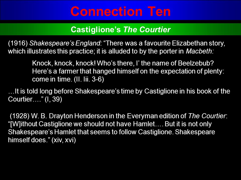 Connection Ten Castigliones The Courtier (1916) Shakespeares England: There was a favourite Elizabethan story, which illustrates this practice; it is