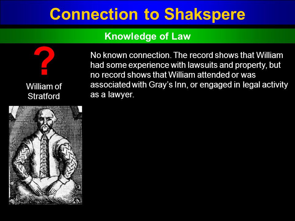 Connection to Shakspere William of Stratford ? No known connection. The record shows that William had some experience with lawsuits and property, but