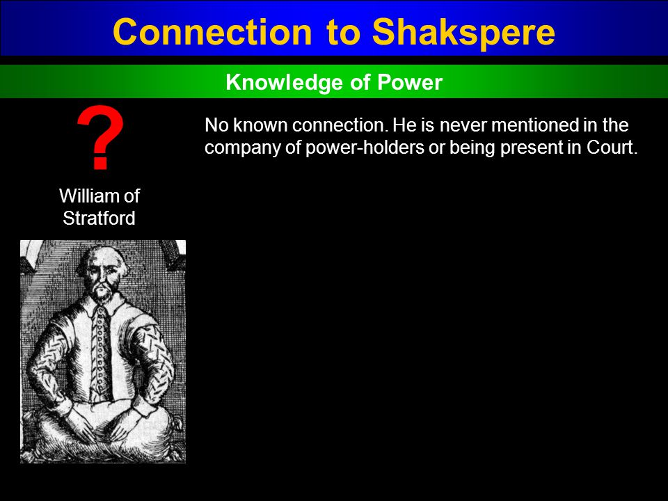 Connection to Shakspere William of Stratford ? No known connection. He is never mentioned in the company of power-holders or being present in Court. K