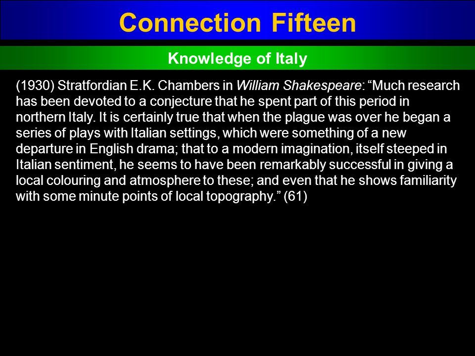 Connection Fifteen Knowledge of Italy (1930) Stratfordian E.K. Chambers in William Shakespeare: Much research has been devoted to a conjecture that he