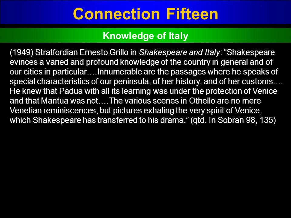 Connection Fifteen Knowledge of Italy (1949) Stratfordian Ernesto Grillo in Shakespeare and Italy: Shakespeare evinces a varied and profound knowledge