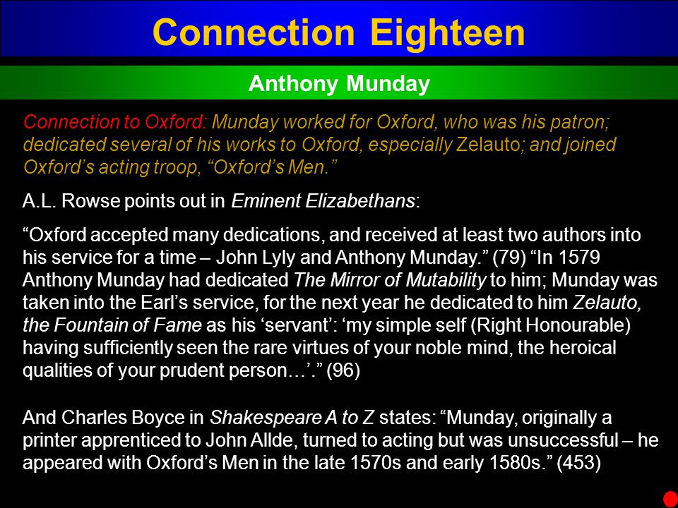 Connection Eighteen Anthony Munday Connection to Oxford: Munday worked for Oxford, who was his patron; dedicated several of his works to Oxford, espec