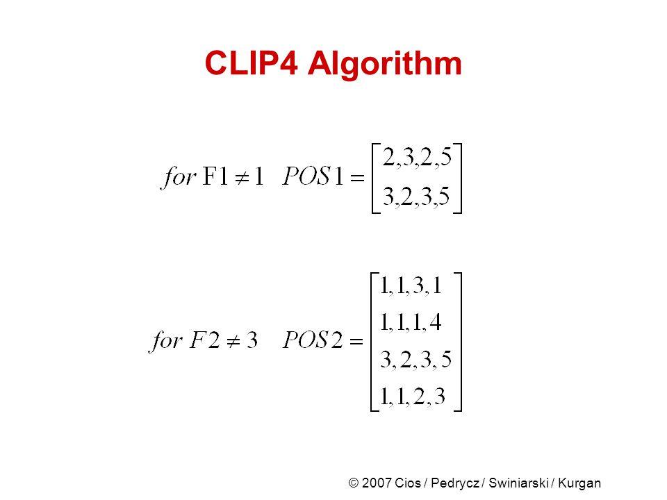 © 2007 Cios / Pedrycz / Swiniarski / Kurgan CLIP4 Algorithm