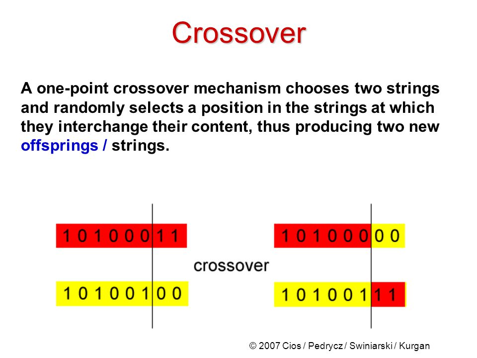 © 2007 Cios / Pedrycz / Swiniarski / Kurgan Crossover A one-point crossover mechanism chooses two strings and randomly selects a position in the strings at which they interchange their content, thus producing two new offsprings / strings.