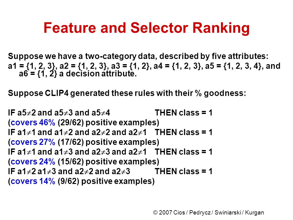 © 2007 Cios / Pedrycz / Swiniarski / Kurgan Feature and Selector Ranking Suppose we have a two-category data, described by five attributes: a1 = {1, 2, 3}, a2 = {1, 2, 3}, a3 = {1, 2}, a4 = {1, 2, 3}, a5 = {1, 2, 3, 4}, and a6 = {1, 2} a decision attribute.