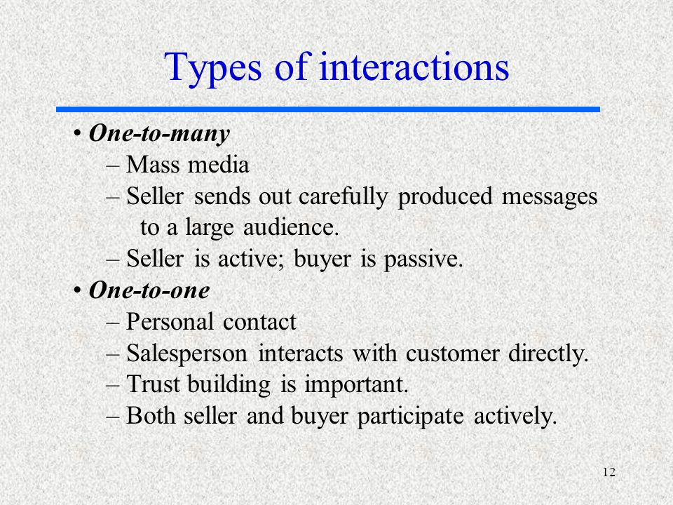 12 One-to-many – Mass media – Seller sends out carefully produced messages to a large audience.