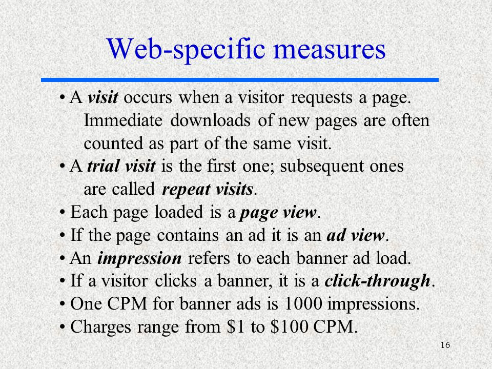 16 A visit occurs when a visitor requests a page.