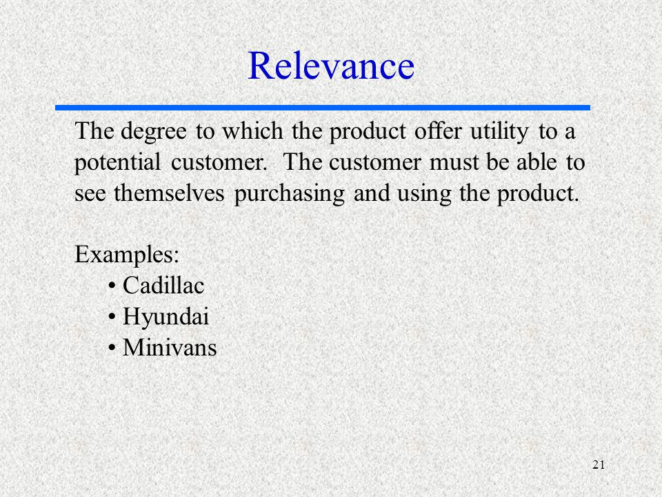 21 The degree to which the product offer utility to a potential customer.