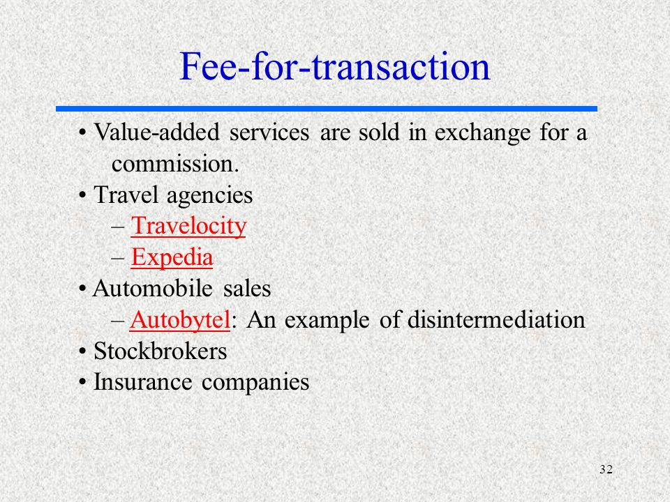 32 Value-added services are sold in exchange for a commission.