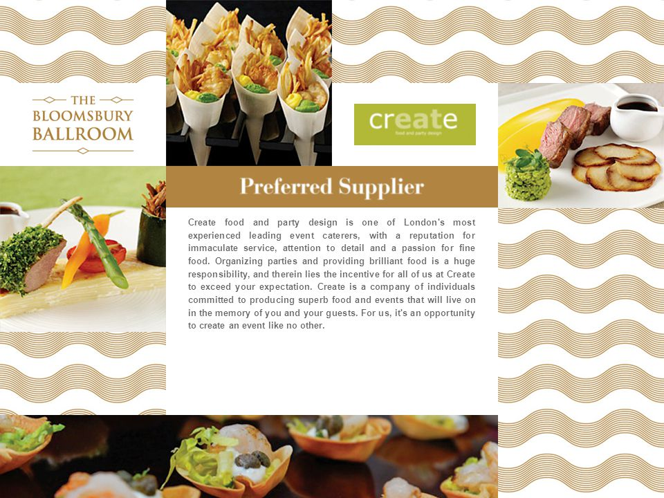 Create food and party design is one of London's most experienced leading event caterers, with a reputation for immaculate service, attention to detail