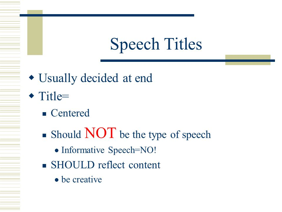 Speech Outlines & Class Notes Class notes and practice outline-Handout Held accountable for information May add additional notes from listening and po