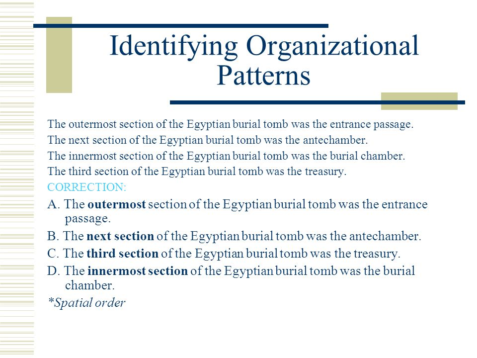 Identifying Organizational Patterns The outermost section of the Egyptian burial tomb was the entrance passage. The next section of the Egyptian buria
