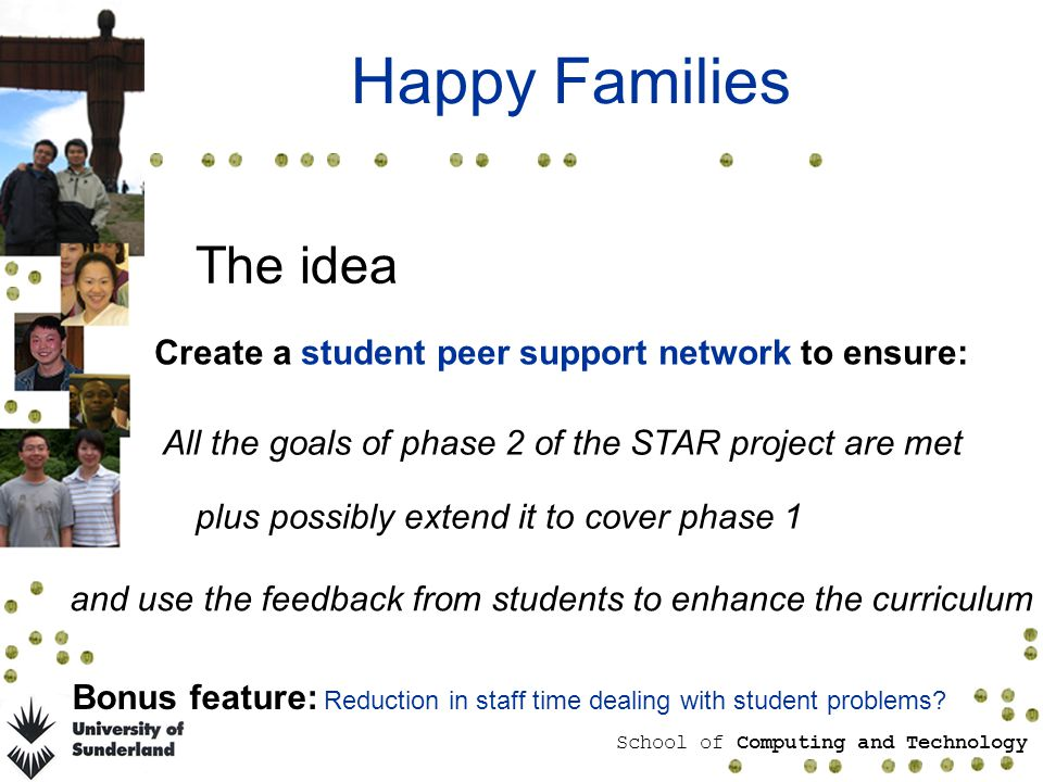 School of Computing and Technology Happy Families The idea Create a student peer support network to ensure: All the goals of phase 2 of the STAR project are met plus possibly extend it to cover phase 1 and use the feedback from students to enhance the curriculum Bonus feature: Reduction in staff time dealing with student problems