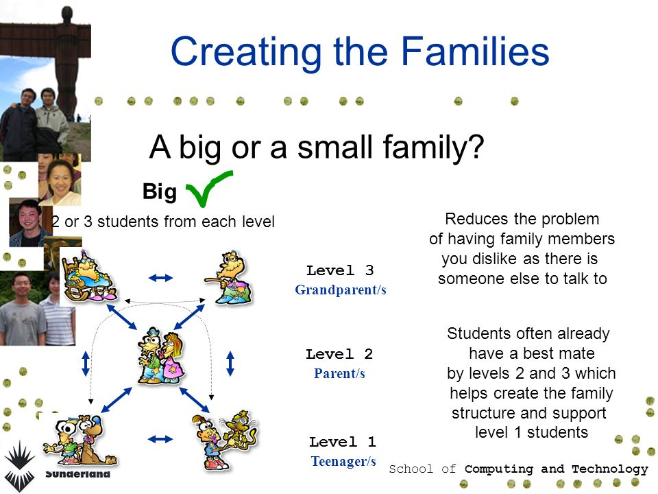 School of Computing and Technology Creating the Families A big or a small family.