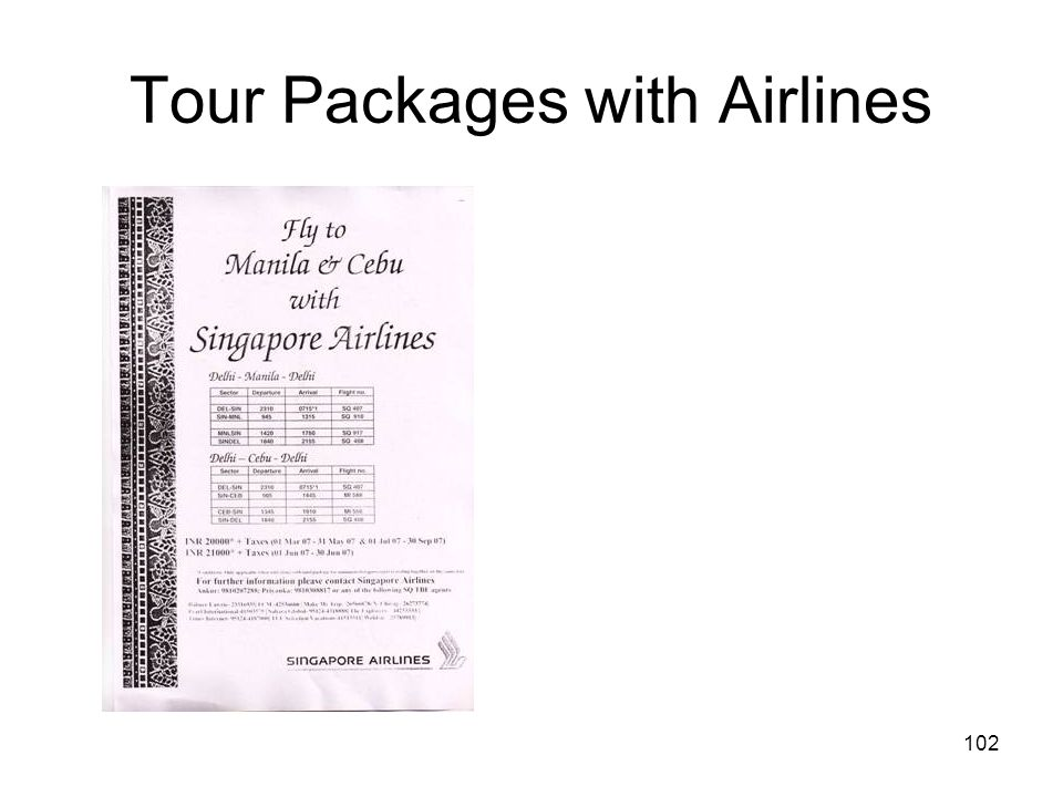 102 Tour Packages with Airlines