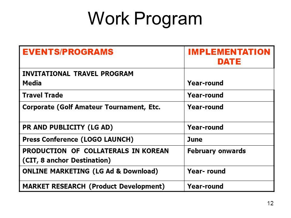 12 EVENTS/PROGRAMSIMPLEMENTATION DATE INVITATIONAL TRAVEL PROGRAM MediaYear-round Travel TradeYear-round Corporate (Golf Amateur Tournament, Etc.Year-