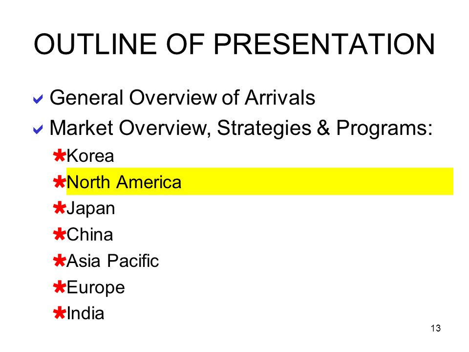 13 General Overview of Arrivals Market Overview, Strategies & Programs: Korea North America Japan China Asia Pacific Europe India OUTLINE OF PRESENTAT
