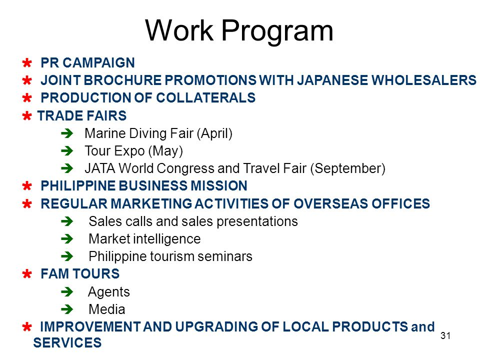31 PR CAMPAIGN JOINT BROCHURE PROMOTIONS WITH JAPANESE WHOLESALERS PRODUCTION OF COLLATERALS TRADE FAIRS Marine Diving Fair (April) Tour Expo (May) JA